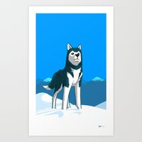 husky Art Prints featuring Husky by Art of Ahmed Gamal