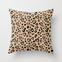 Tan Leopard Hearts Throw Pillow