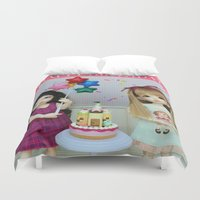 happy birthday Duvet Covers featuring Happy Birthday by ♥  Little Enchanted World ♥