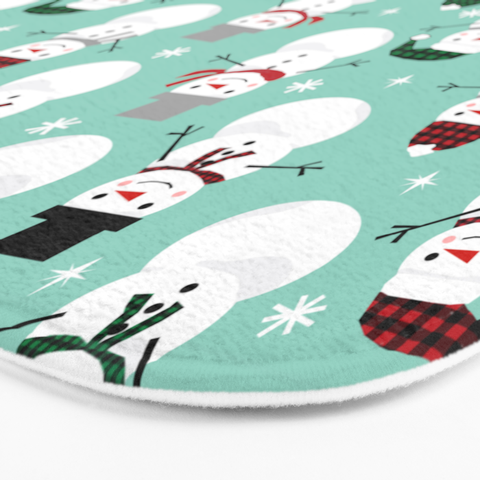 Snowman gender neutral mint white and black holiday pattern kids room decor seasonal Bath Mat