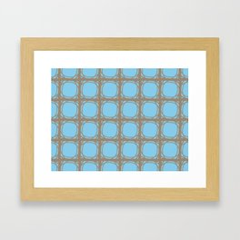 Blue and Brown Lattice Framed Art Print