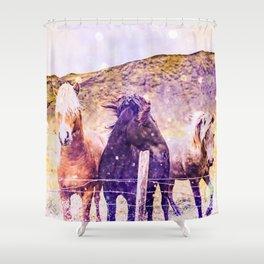 Southwest Horse Ranch Horses Shower Curtain