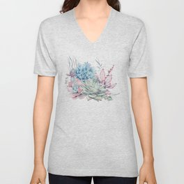 Pretty Pastel Succulents Unisex V-Neck