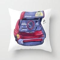 polaroid Throw Pillows featuring Polaroid by Glen Howy