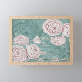 Shabby Blue Wood with Pale Pink Cabbage Roses Framed Mini Art Print