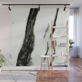 Ebony White Marble With Captivating Black Veins Wall Mural