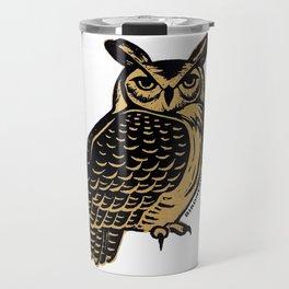 Great Horned Owl Linocut Travel Mug