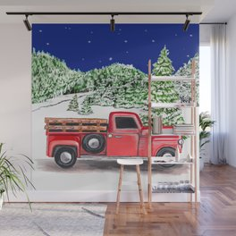 Old Red Farm Truck Winter Wall Mural
