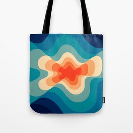 Retro 80s Blue and Orange Mid-Century Minimalist Abstract Art Tote Bag
