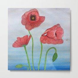 Poppies Watercolor Metal Print