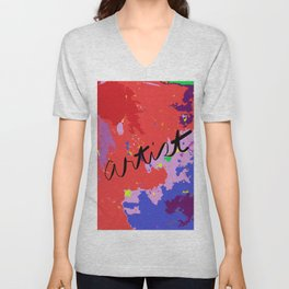 ARTIST in reds, blues, purples Unisex V-Neck