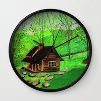 cabin Wall Clocks featuring Hillside cabin by maggs326