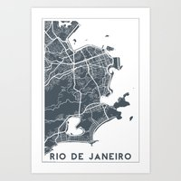 rio de janeiro Art Prints featuring Rio de Janeiro map by Studio Tesouro
