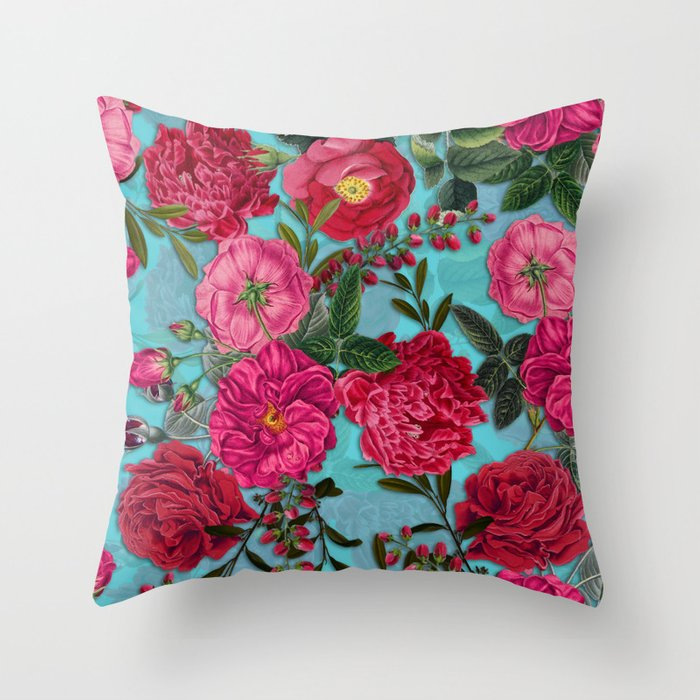 Vintage & Shabby Chic - Summer Tropical Garden I Throw Pillow