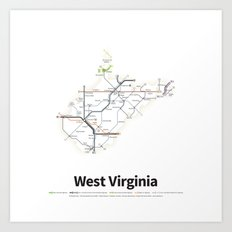 Highways of the USA – West Virginia Art Print