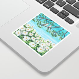 red bellied woodpeckers and daisies Sticker