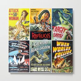 50s Sci-Fi Movie Poster Collage #1 Metal Print