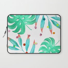 Tropical dots and leaves Laptop Sleeve