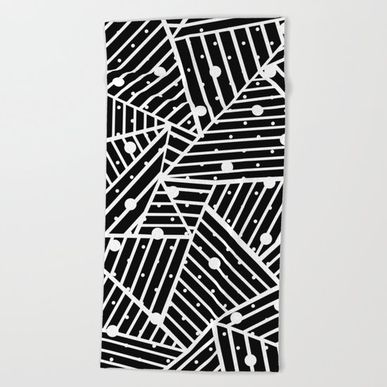 Abstraction Spots Close Up Black Beach Towel