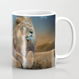 Majestic Elegant Male African Lion Relaxing In His Kingdom Ultra HD Coffee Mug