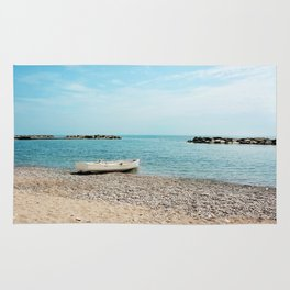 AFE White Boat, Beach Photography Rug