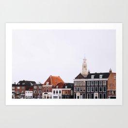 Iconic 'skyline' of Haarlem in winter | Haarlem historical city, the Netherlands | Urban travel photography Art Print