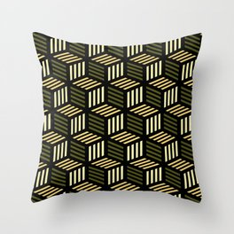 Cubic Olive Throw Pillow