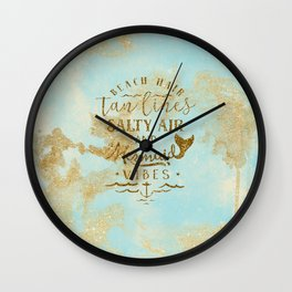 Beach - Mermaid - Mermaid Vibes - Gold glitter lettering on teal glittering background Wall Clock