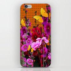BUTTERFLIES IN PURPLE-PINK  FLOWERS GARDEN iPhone & iPod Skin