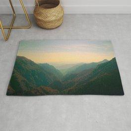 Mountain Valley Parallax Green Yellow Hues Sunset landscape Minimalist Modern Photo Rug