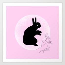 The Rabbit And The Moon Art Print
