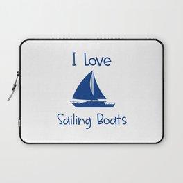 I Love Sailing Boats Lake and Ocean Travel Laptop Sleeve
