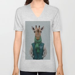the giraffe in jacket. Unisex V-Neck