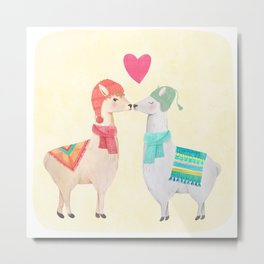 Llamas In Love Metal Print