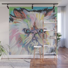 Fun HIMALAYAN CAT bright colorful Pop Art painting by Lea Wall Mural