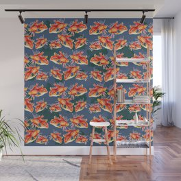 goldfish on a blue background Wall Mural