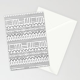 Mud Cloth on White Stationery Cards