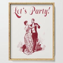 """Let's Party"" Vintage Design Serving Tray"