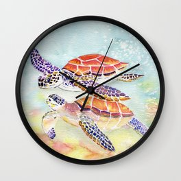 Swimming Together - Sea Turtle Wall Clock