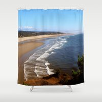 oregon Shower Curtains featuring Oregon Coast by MaryPaul