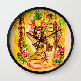 Pineapple Island Girl with Tikis Wall Clock