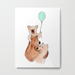Three Bears Metal Print