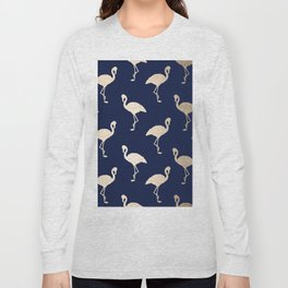 Gold Flamingo Pattern Navy Blue Long Sleeve T-shirt