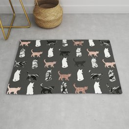 Kitty Cats in Rose Gold and Black and White Marble Rug
