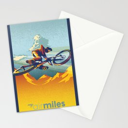Retro Mountain Bike Poster/ Illustration / fine art print MY AIR MILES Stationery Cards