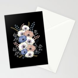 Anemones bouquet in black Stationery Cards