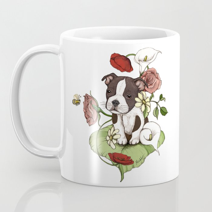 Boston Terrier Puppy Bouquet Coffee Mug