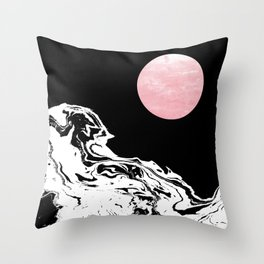Downing - ocean sunset eclipse stars planets galaxy space abstract art swirl waves surf pink black  Throw Pillow