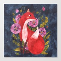 oana befort Canvas Prints featuring FOX & FLORA by Oana Befort