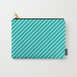 Diagonal Lines (White/Eggshell Blue) Carry-All Pouch